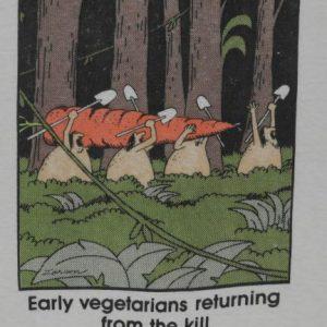 Vintage 1980s The Far Side Vegetarian Vegan Caveman T-shirt