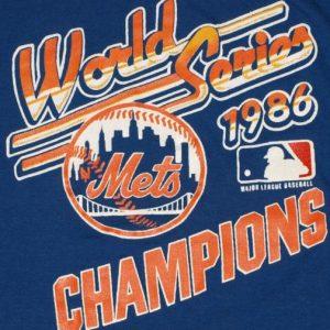 VTG 1986 New York Mets World Series Baseball T-Shirt 80's