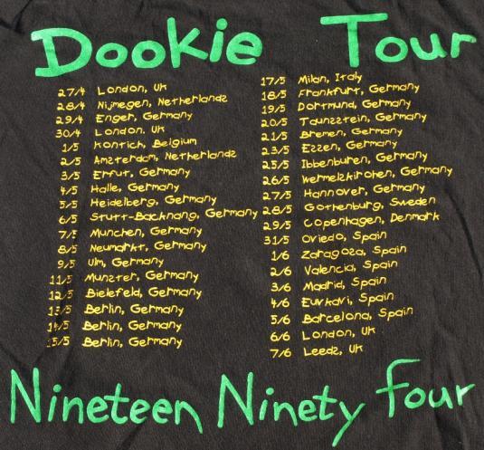 Vtg 1994 GREEN DAY Concert EUROPEAN Tour Shirt DOOKIE
