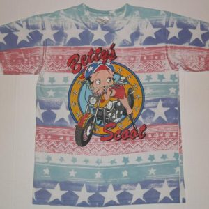 Vintage 1990s BETTY BOOP Motorcycle Biker Striped T-Shirt