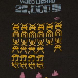 Vintage 1970s SPACE INVADERS Video Wizard T-Shirt ATARI