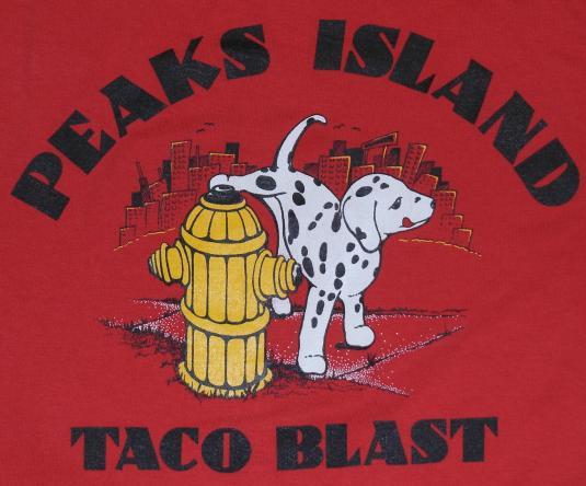 Vintage 1990s PEAKS ISLAND MAINE Taco Blast Funny T-Shirt