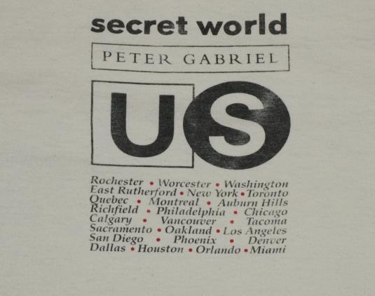 1992 Peter Gabriel Secret World Tour Concert T-Shirt