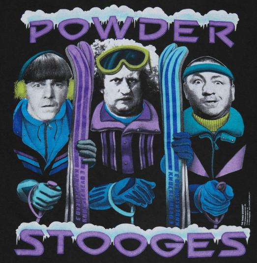 Vintage 1991 Three Stooges Powder Skiing Ski T-Shirt 1990s