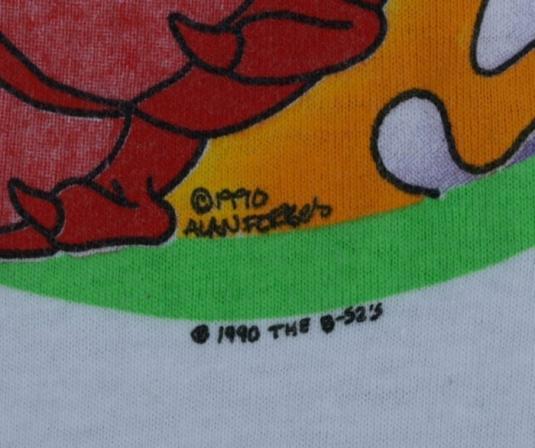 Vintage 1990 B-52's Rock Lobster Concert Tour Shirt