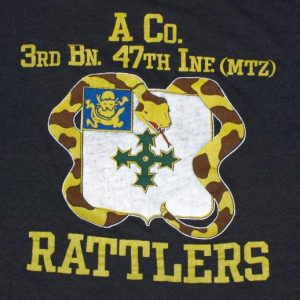 VTG 80s 3rd BN 47 Infantry US ARMY Rattlers Military T-Shirt
