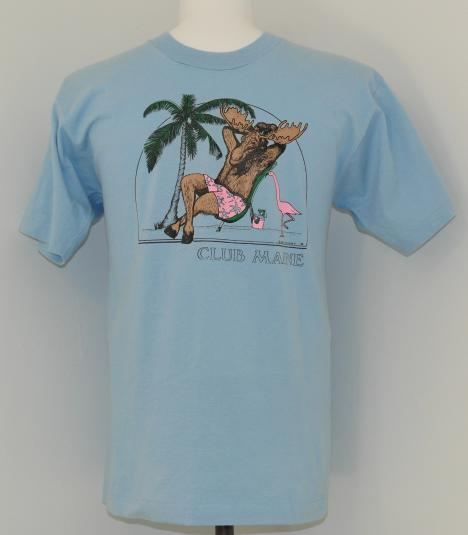 Vintage 1980s Club MAINE MOOSE T-Shirt Blue