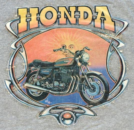 Vintage 1980s Heather Grey HONDA Motorcycle BIKER T-Shirt