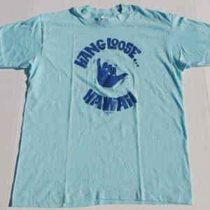 1980s HAWAII Hang Loose Light Blue Indie Shirt 50/50