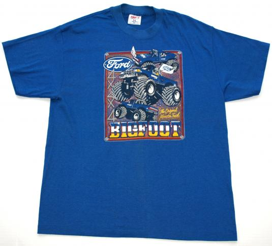 Vintage 1980s BIG FOOT Ford Monster Truck T Shirt Tee Blue