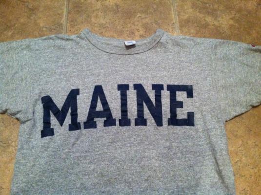 VTG University MAINE Champion RAYON T-shirt Heather Grey 80s