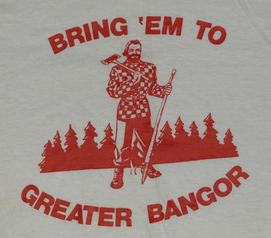 Vintage 1970s Paul Bunyan Bangor Maine White T-Shirt