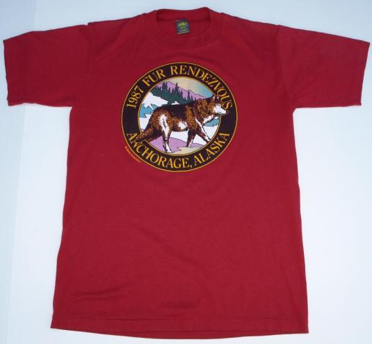 1987 Anchorage Alaska Wolf Fur Rendezvous T Shirt