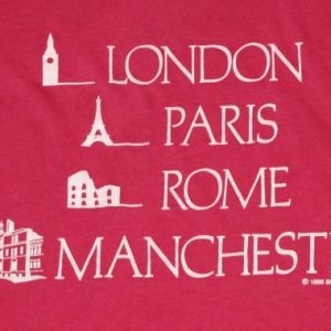 1980s Pink London Paris Rome Manchester Europe Thin T-Shirt