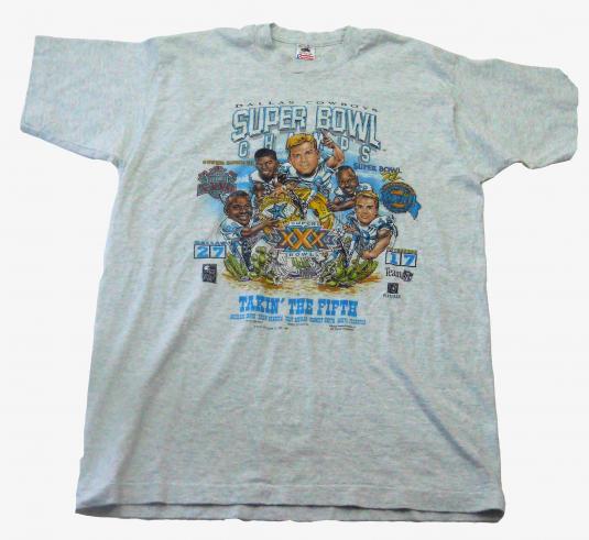 Vtg Dallas Cowboys Super Bowl XXX Champs Caricature Shirt