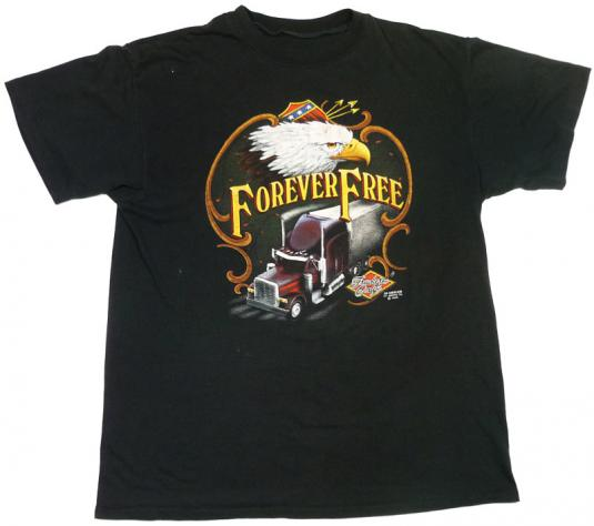 3D EMBLEM TRUCKERS ONLY FOREVER FREE EAGLE T-SHIRT