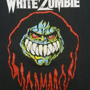 VINTAGE 80'S WHITE ZOMBIE MAKE THEM DIE SLOWLY T-SHIRT L/XL