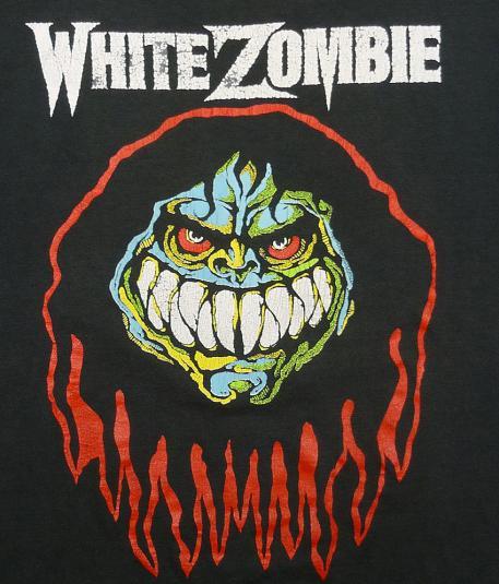 VINTAGE 80'S WHITE ZOMBIE MAKE THEM DIE SLOWLY T-SHIRT L/XL