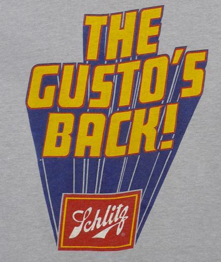 VINTAGE 80'S SCHLITZ BEER THE GUSTO'S BACK! T-SHIRT