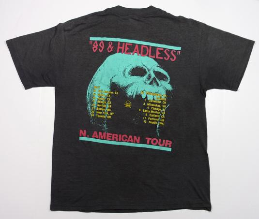 W.A.S.P. WASP 89 AND HEADLESS ROCK METAL THIN T-SHIRT L