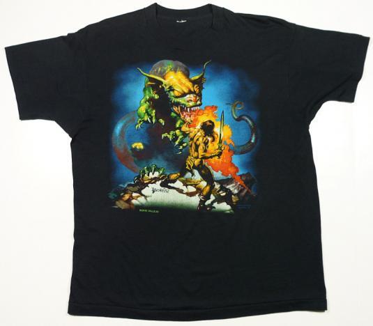 VINTAGE 80s BORIS VALLEJO FANTASY HEAVY METAL DRAGON T-SHIRT