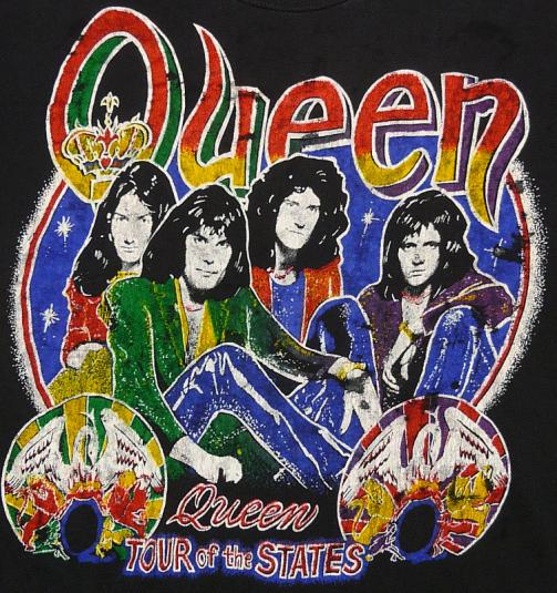 80s QUEEN THE GAME TOUR OF THE STATES FREDDY MERCURY T-SHIRT