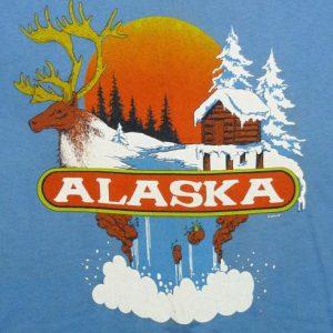 VINTAGE 80'S ALASKA TOURIST ELK ANIMAL PRINT T-SHIRT SMALL