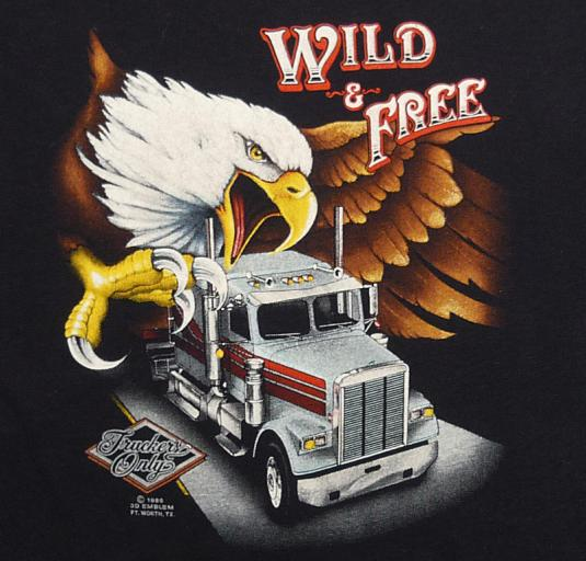 3D EMBLEM TRUCKERS ONLY WILD & FREE EAGLE T-SHIRT M