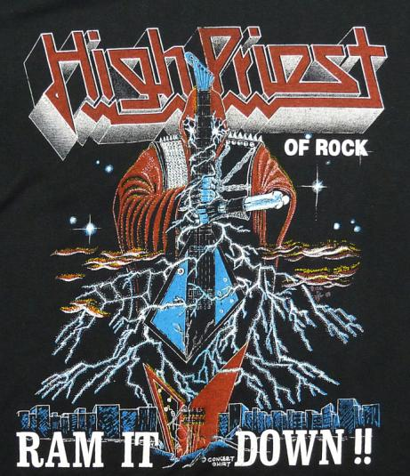 VINTAGE JUDAS PRIEST RAM IT DOWN HIGH PRIEST OF ROCK T-SHIRT