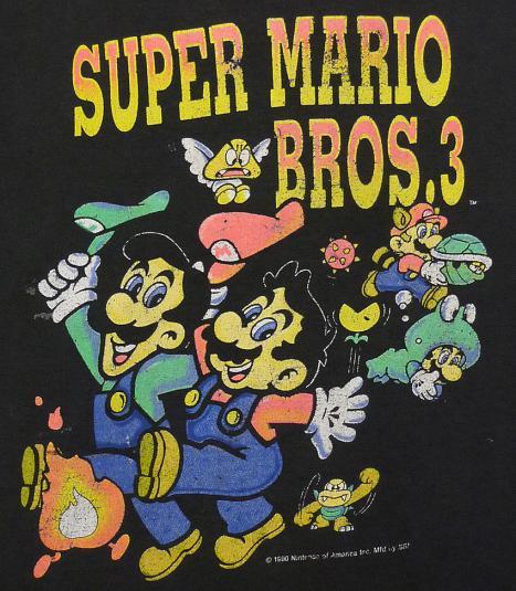Vintage 1990 Super Mario Bros. 3 Nintendo video game t-shirt