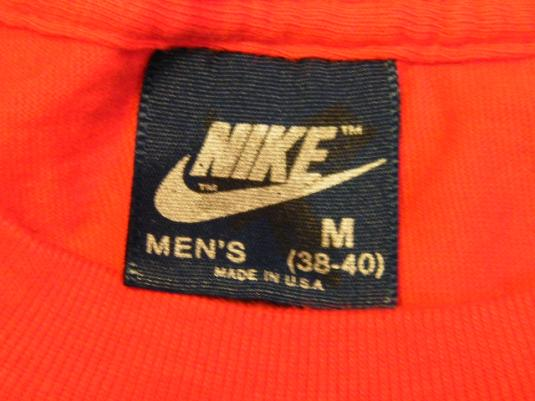 Vintage 1980's Nike Blue Tag Swoosh Logo Red T-Shirt