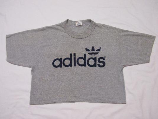 Vintage 80's Adidas Trefoil Gray Heather Half T-Shirt