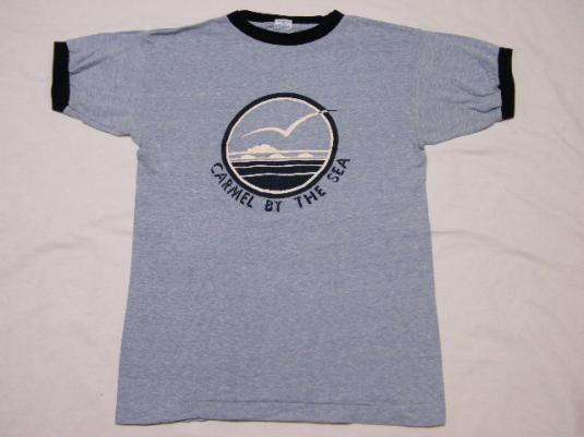 Vintage 1970's Carmel By The Sea Champion Blue Bar T-Shirt