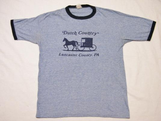 Vintage 80's Dutch Country Lancaster PA Ringer Rayon T-Shirt
