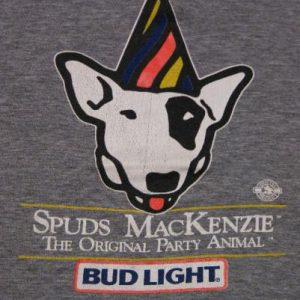 Vintage 1986 Spuds MacKenzie Bud Light Beer Rayon T-Shirt