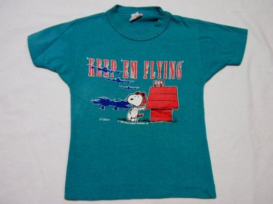 """Vintage 80's Snoopy """"Keep Them Flying"""" Kids T-Shirt"""