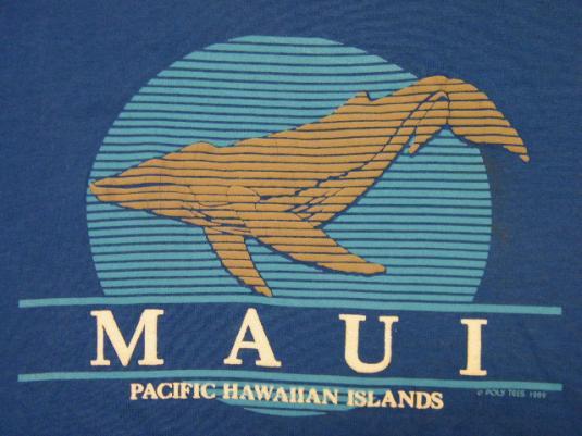 Vintage 1989 Pacific Hawaiian Islands MAUI Whale T-Shirt