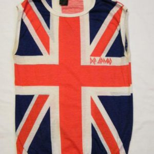 Vintage 80's Def Leppard Union Jack Sleeveless Rock T-Shirt