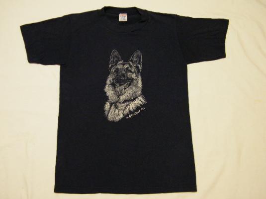 Cute Vintage 1986 German Shepherd Dog Art T-Shirt