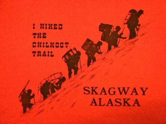 Vintage 80's I Hiked Chilkoot Trail Skagway Alaska T-Shirt