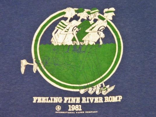 Vintage 1981 Feeling Fine River Romp Running Race T-Shirt