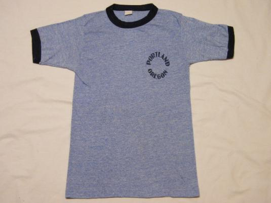 Vintage 1980's Portland Oregon Ringer Rayon T-Shirt