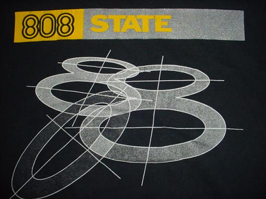 Vintage 808 State T-Shirt Silver Ink L