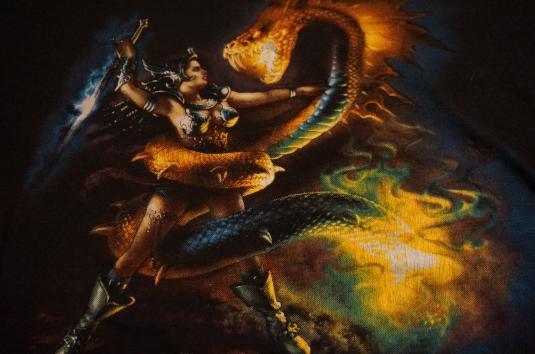 Vintage John Pound Fantasy Serpent Warrior Princess T-Shirt