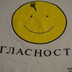 Vintage Mikhail Gorbachev Glasnost Russia Smiley T-Shirt M/S