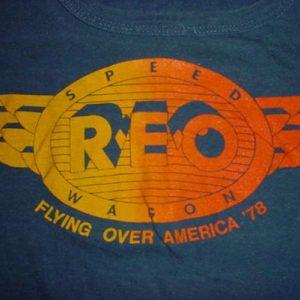 Vintage REO Speedwagon Flying Over America T-Shirt 1979 S