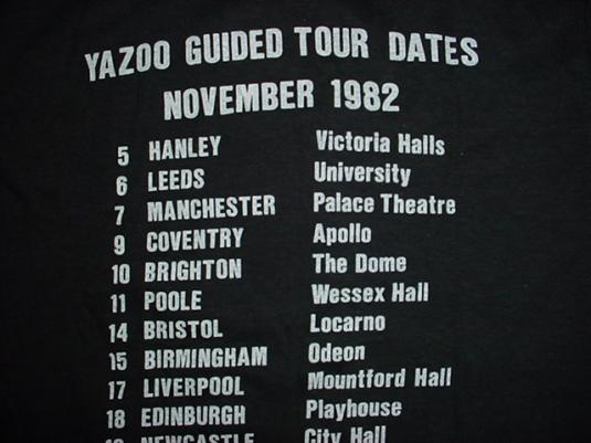 Vintage Yazoo T-Shirt Yaz Upstairs at Eric's Guided Tour S