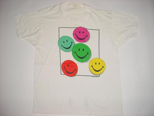 Vintage Acid House Smileys T-Shirt 1989 Free Style M