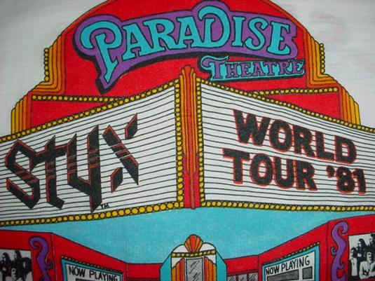 Vintage STYX Paradise Theatre Jersey T-Shirt Theatre M/S