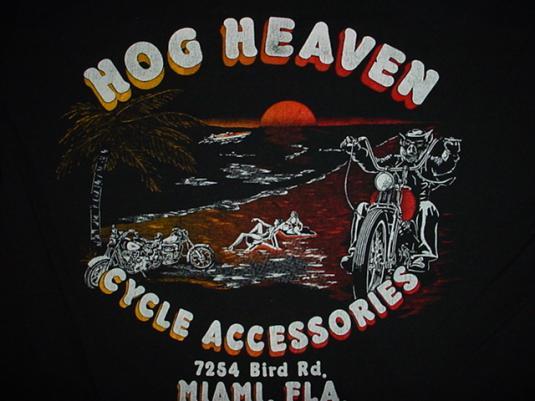 Vintage Harley Davidson T-Shirt Hog Heaven MIami 1980s XL